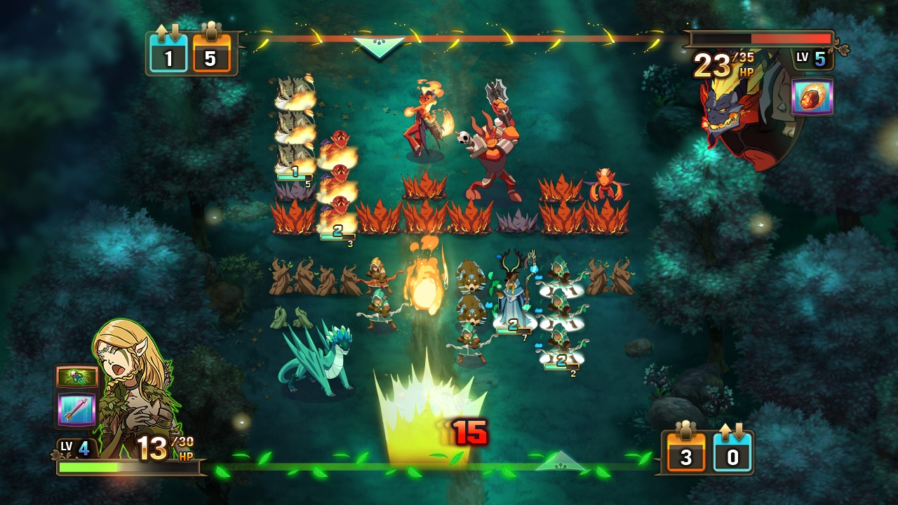 Armies battle in Might & Magic: Clash of Heroes