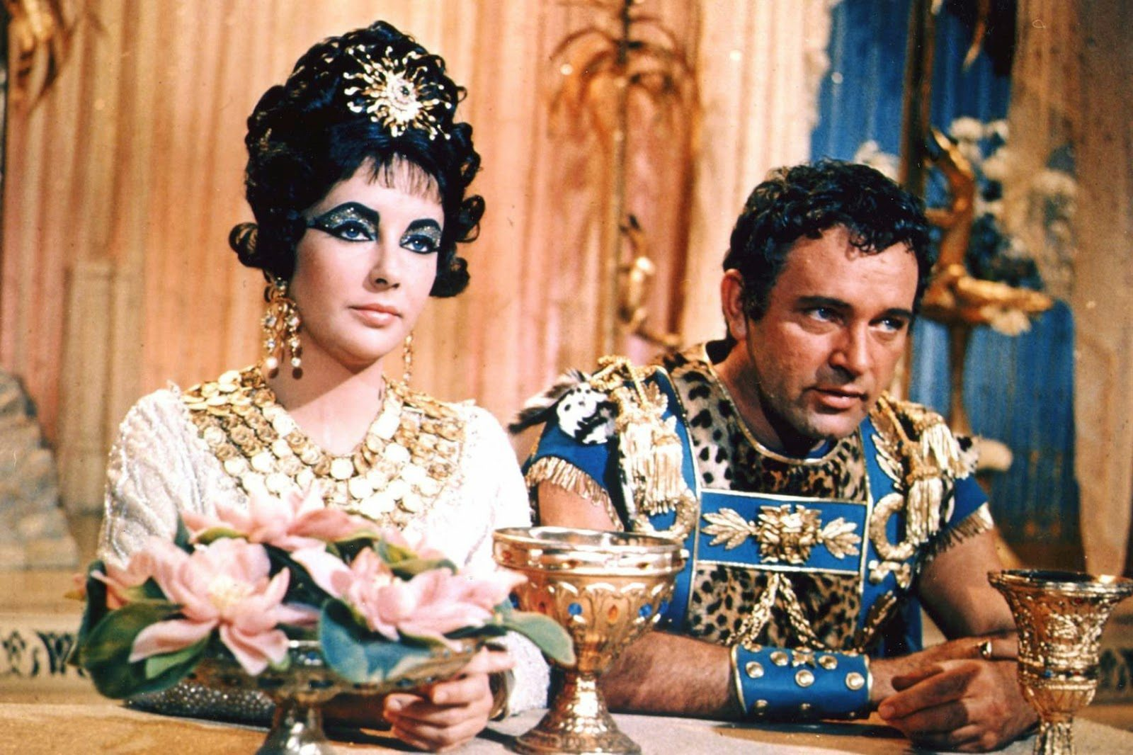 Elizabeth Taylor and Richard Burton film Cleopatra.