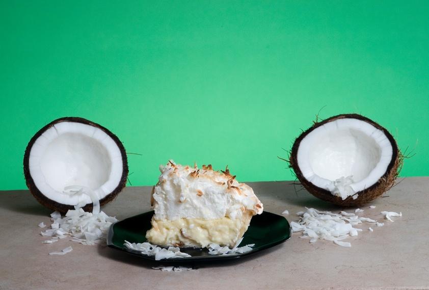 coconut cut into two half pieces