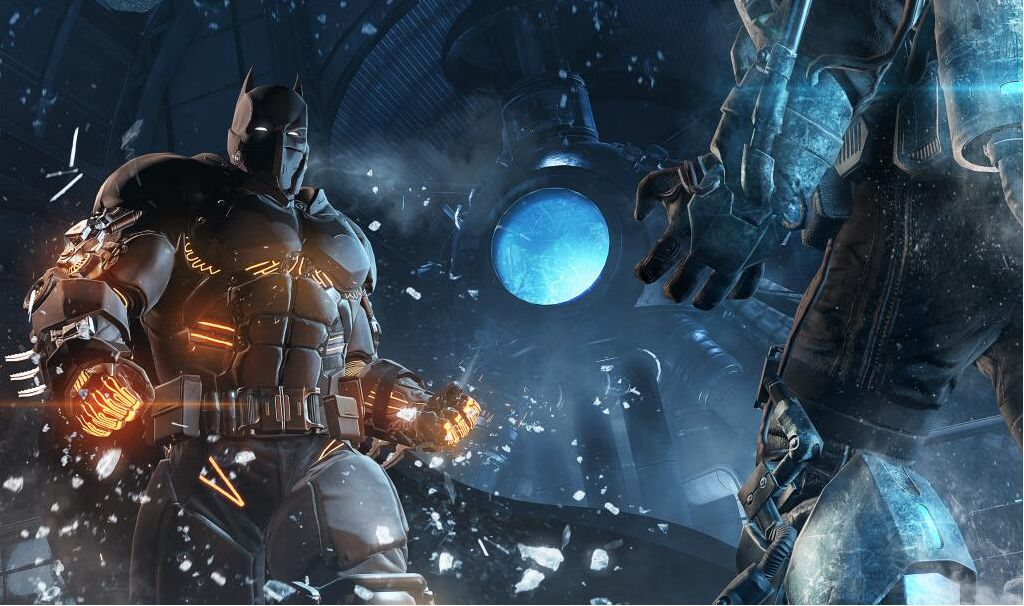 Batman in a thermal suit faces off against Mr. Freeze.