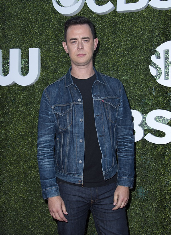 Colin Hanks wearing a jean jacket