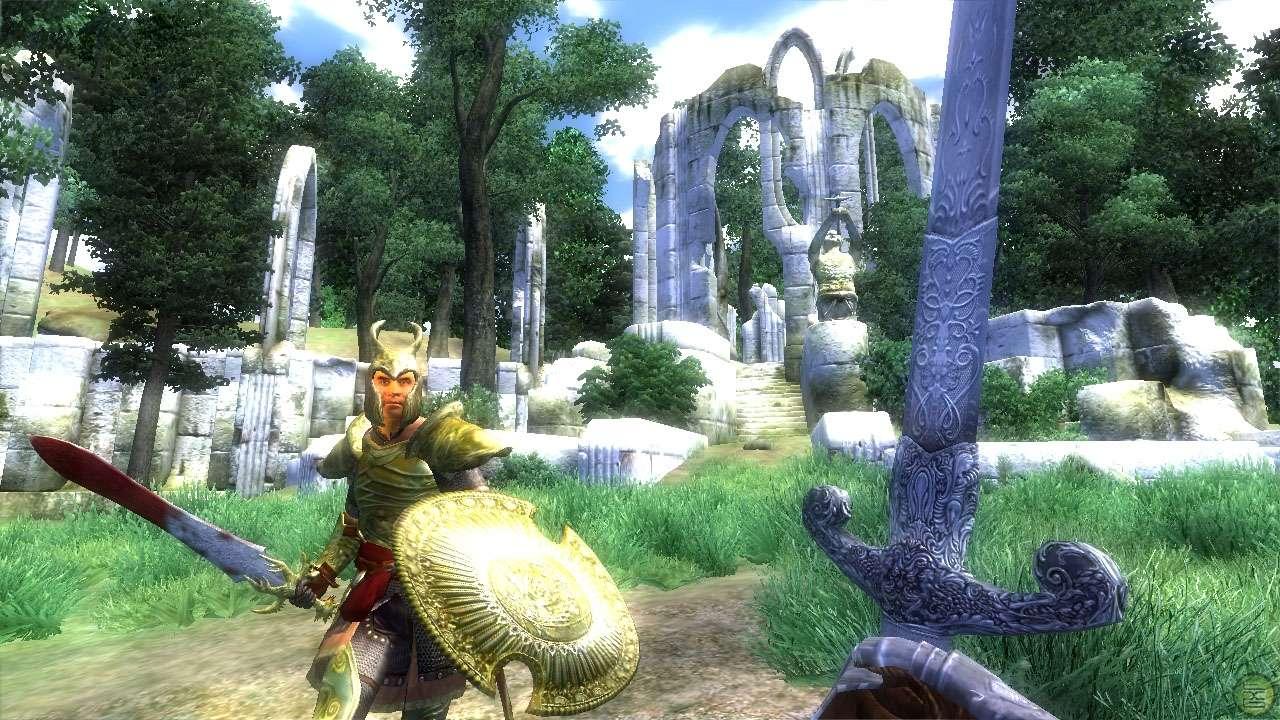 Fighting a knight in Oblivion.