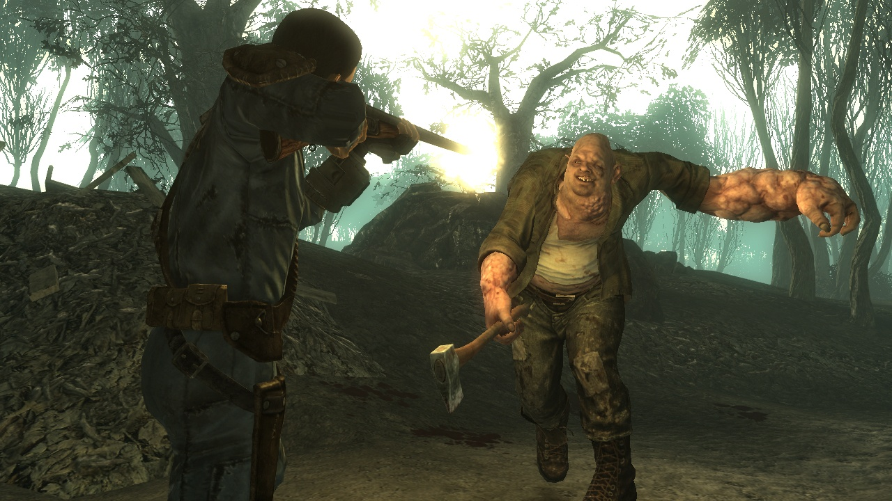 Facing off against a mutant in Fallout 3: Point Lookout.
