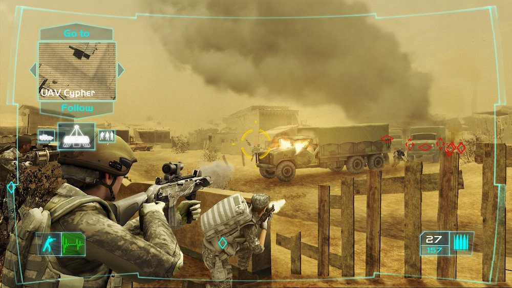 Soldiers on the battlefield in Ghost Recon: Advanced Warfighter