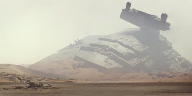 Jakku as seen in 'Star Wars: The Force Awakens' during daylight.