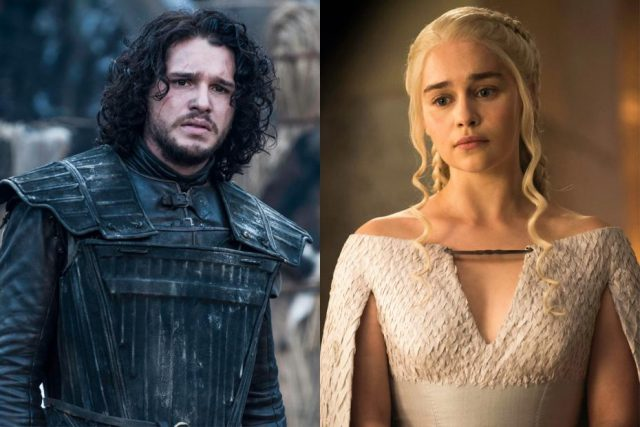 Side by side photos of Jon and Daenerys from 'Game of Thrones'.