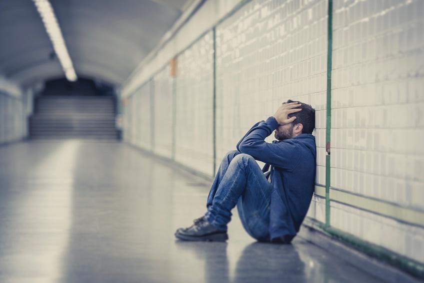 man lost in depression