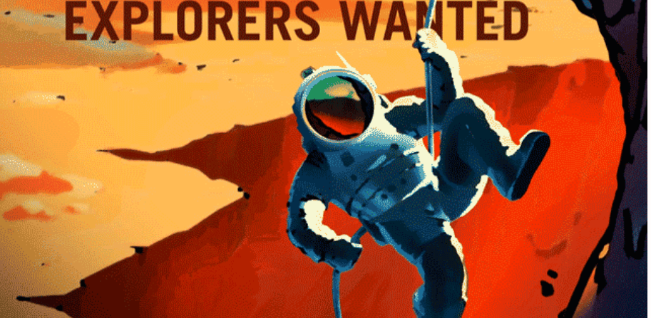 A NASA jobs recruitment poster reads 'Explorers Wanted', recruiting for a future Mars mission