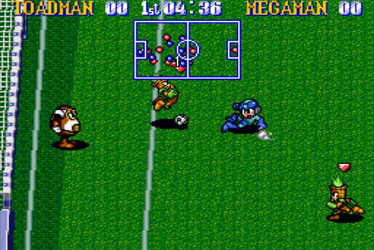 Mega Man playing soccer against Toadman