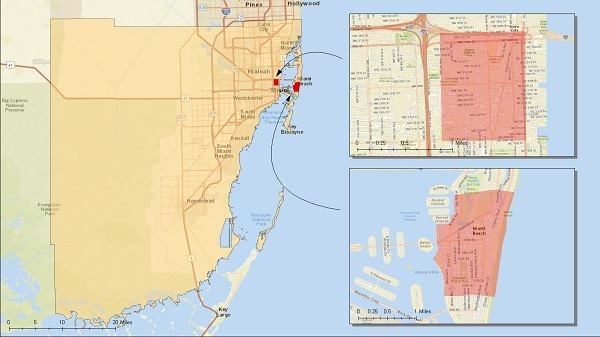 map of zika virus in miami