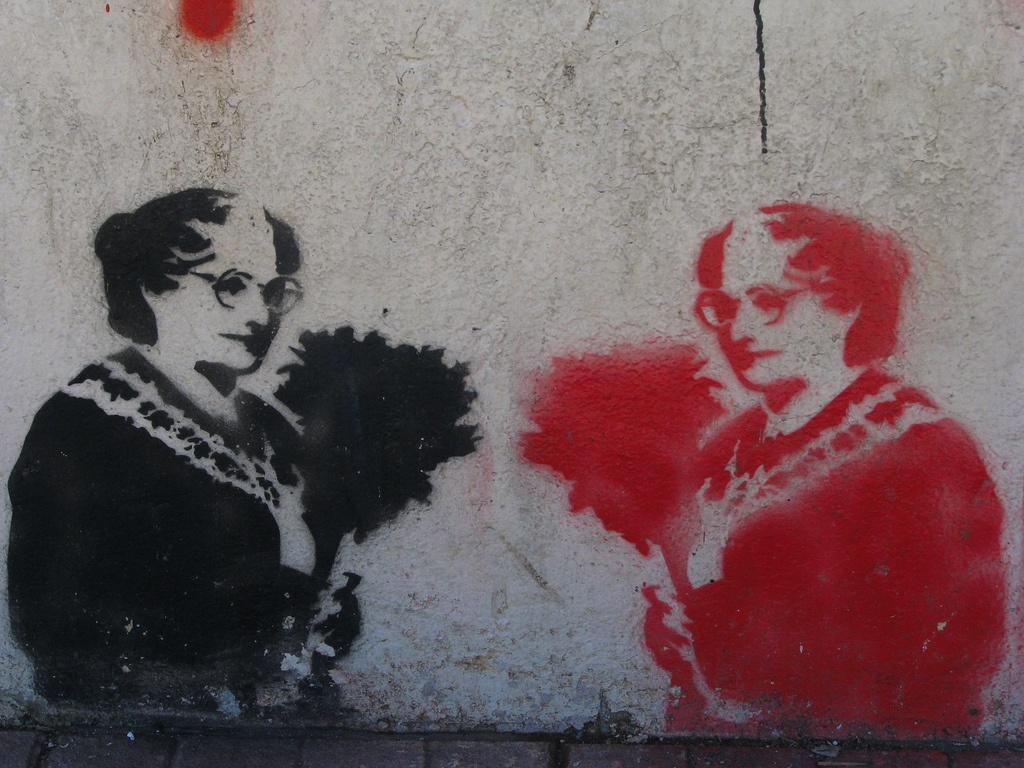 A mural of Mrs. Doubtfire on a wall