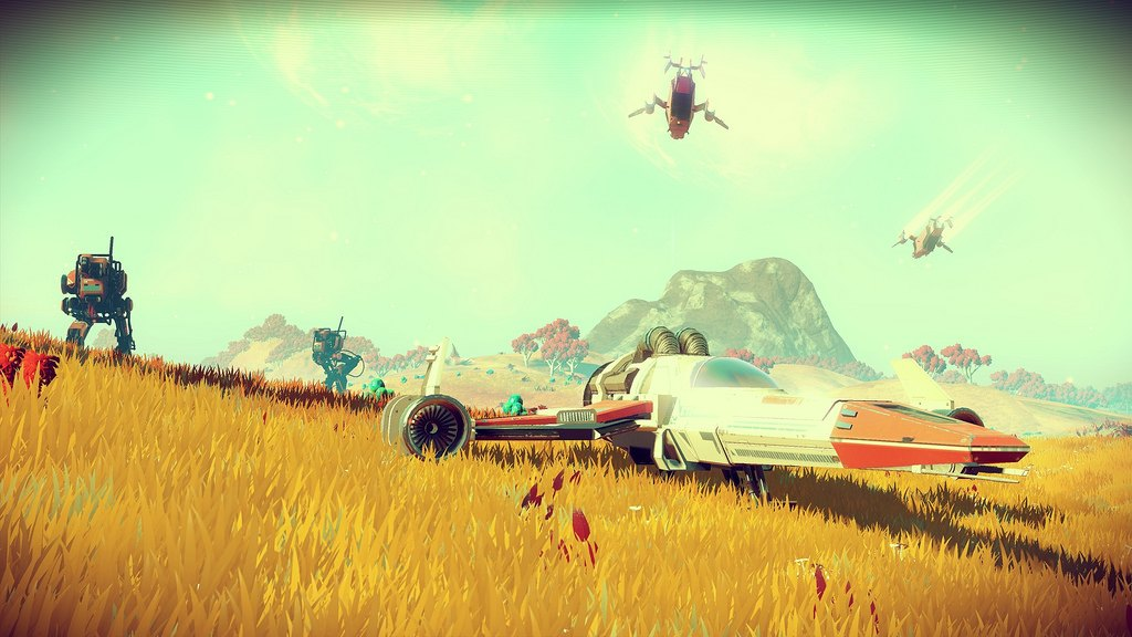 A space ship on a distant planet.