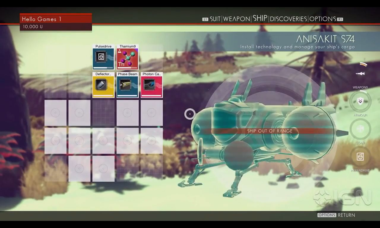 Inventory screen in No Man's Sky.