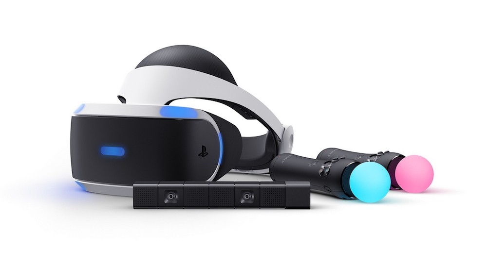 A PlayStation VR headset with Move controllers and the PlayStation camera.