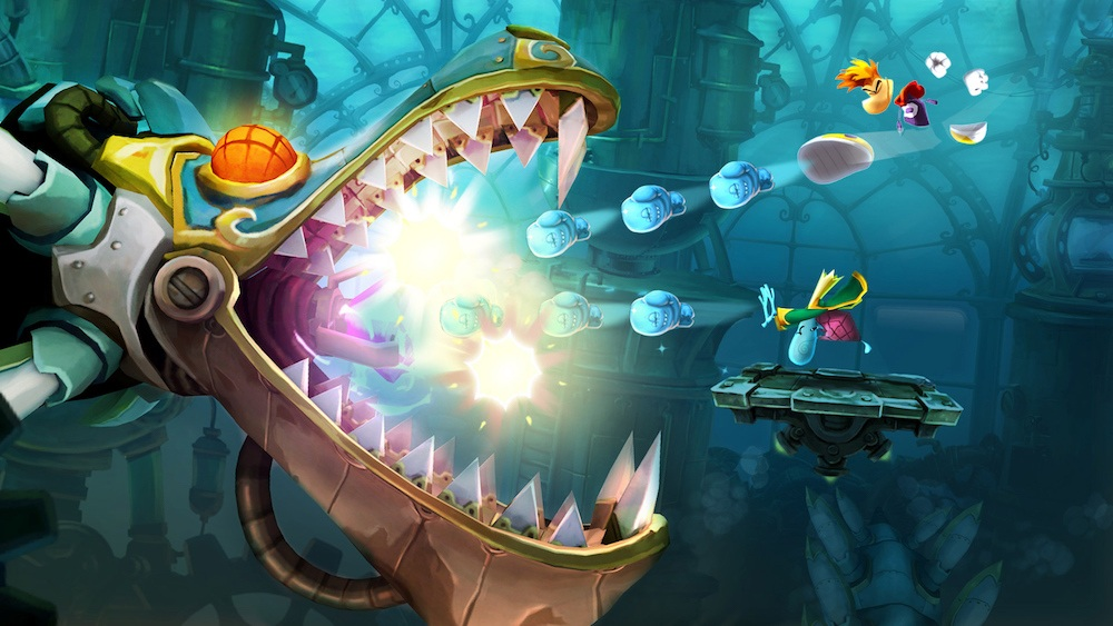 Two players go co-op against a boss in Rayman