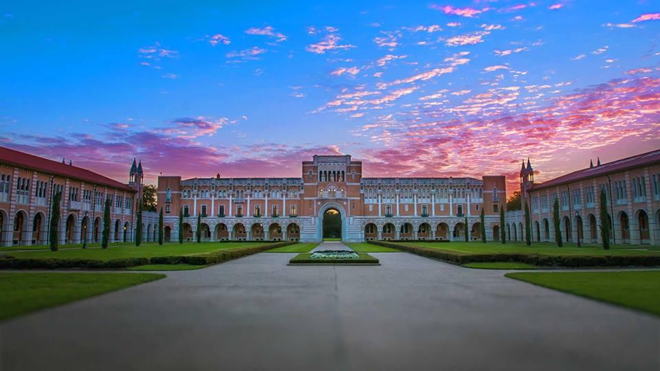 rice university at sunset