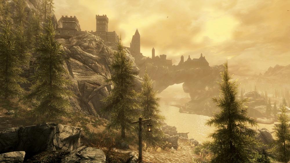 A hazy landscape in Skyrim
