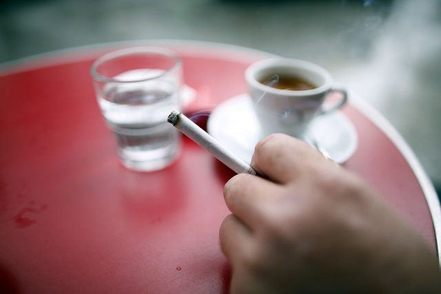 smoking in a cafe