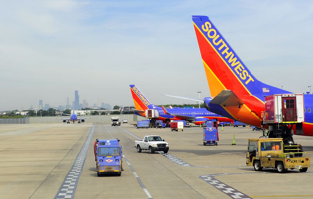 Southwest airlines planes on the tarmac at Chicago's Midway Airport