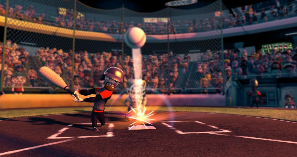 Cartoon baseball players playing baseball.