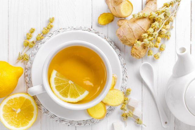 tea cup with lemon slice