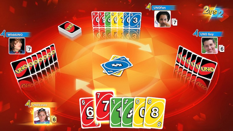 The card game Uno in action.