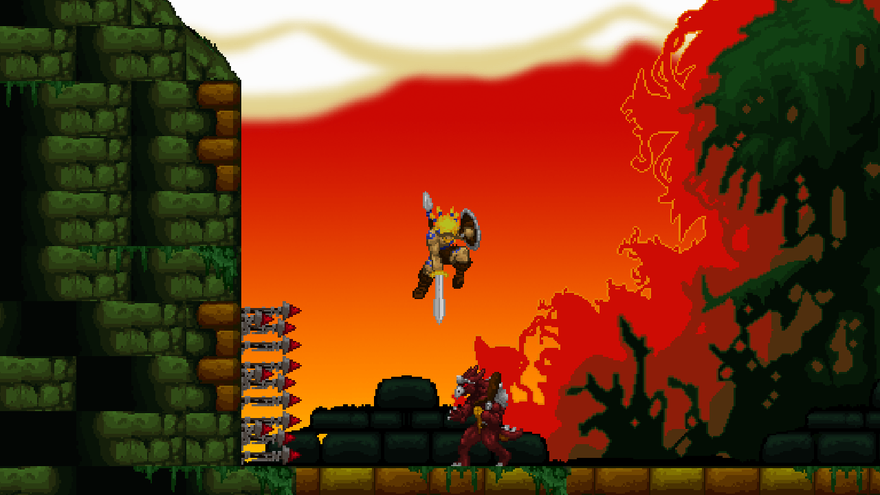 Volgarr the Viking stabbing an enemy from above.