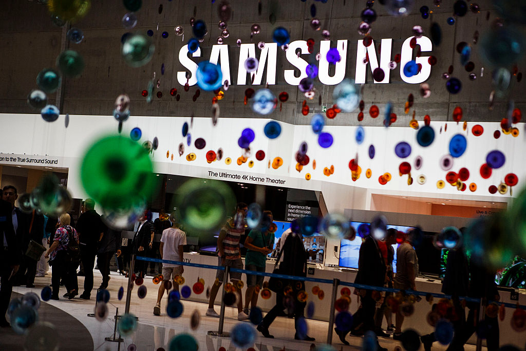 Visitors passing the stand of Samsung at the 2016 IFA consumer electronics trade fair