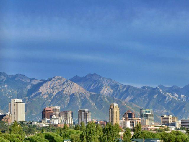 The city and the mountains in Salt Lake City, Utah