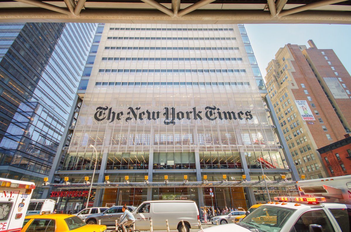 The New York Times building in New York City, New York