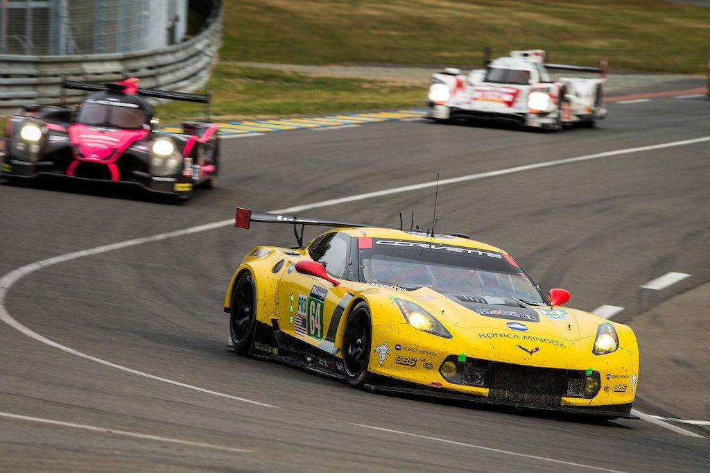 The Chevrolet Corvette Racing C7.R #64, driven by Oliver Gavin, Tommy Milner and Jordan Taylor, races at Circuit de la Sarthe June 13, 2015