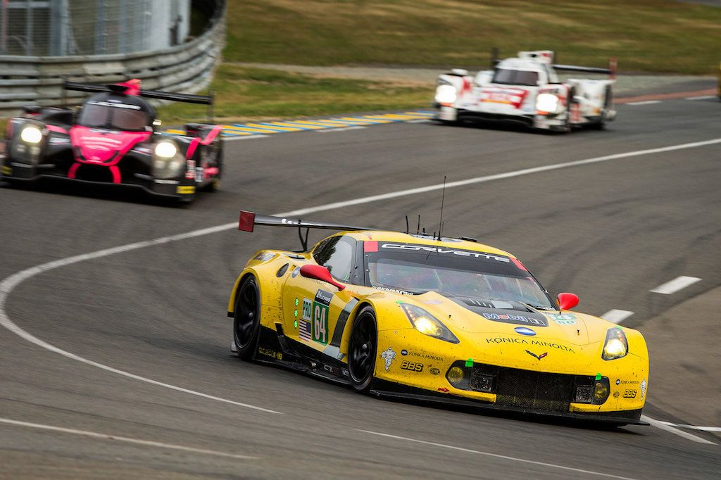 The Chevrolet Corvette Racing C7.R #64, driven by Oliver Gavin, Tommy Milner and Jordan Taylor, races at Circuit de la Sarthe June 13, 2015
