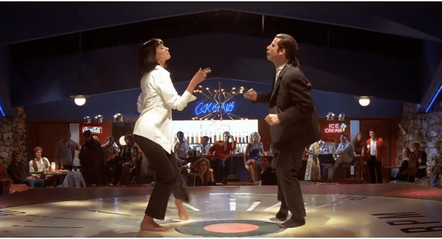 Vincent Vega and Mia Wallace dance at a club.