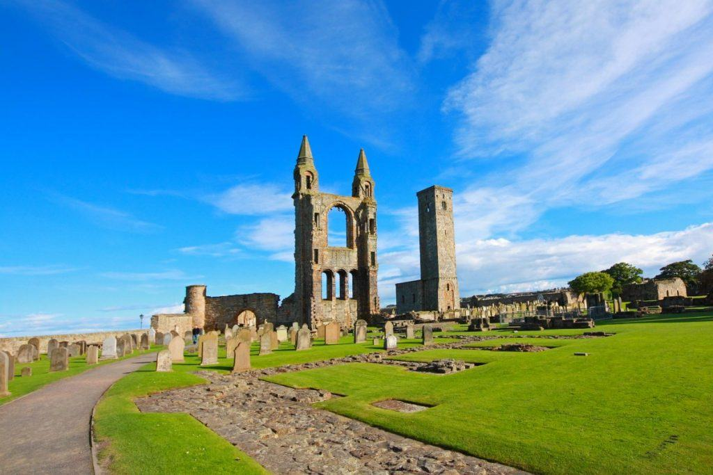 Remains of St. Andrews cathedral in Scotland