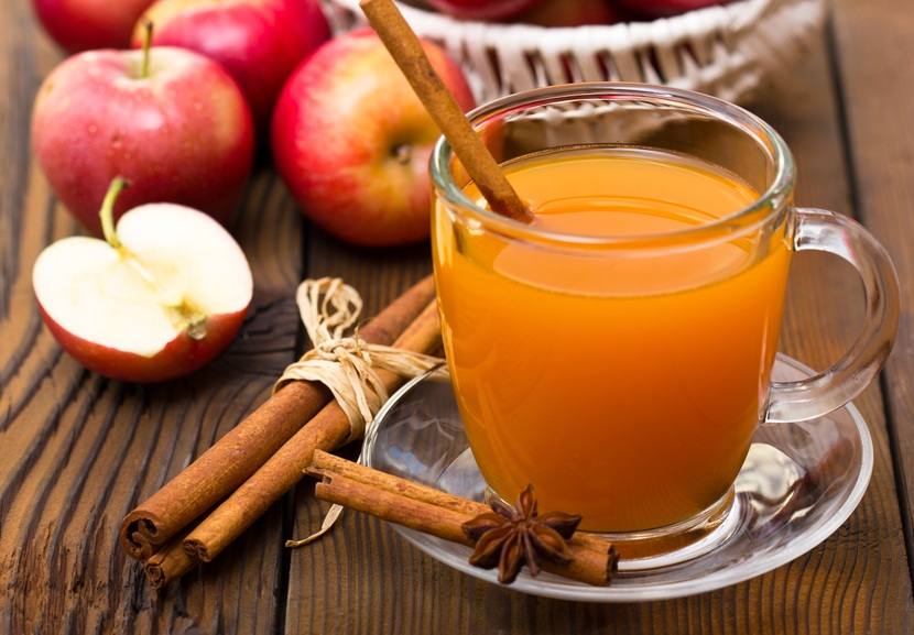 Hot apple cider with cinnamon stick