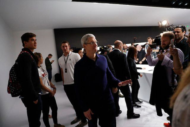 SAN FRANCISCO, CA - SEPTEMBER 07: Apple CEO Tim Cook waves goodbye during a launch event on September 7, 2016 in San Francisco, California. Apple Inc. unveiled the latest iterations of its smart phone, the iPhone 7 and 7 Plus, the Apple Watch Series 2, as well as AirPods, the tech giant's first wireless headphones.