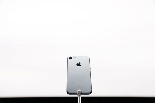 An Apple iPhone 7 is seen during a launch event