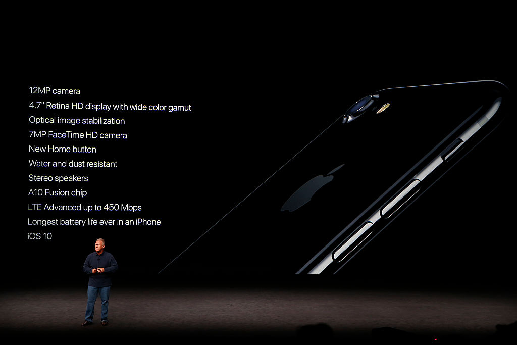 Apple Senior Vice President Phil Schiller speaks on stage at the iPhone 7 launch event