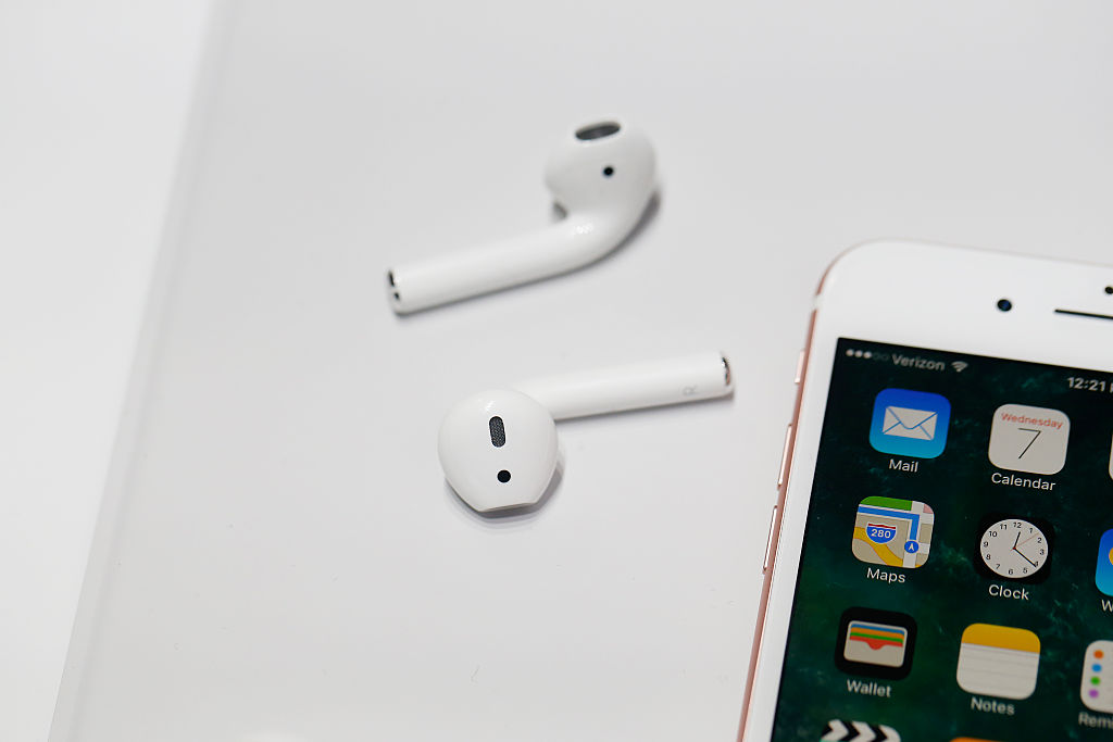 new Apple AirPods are seen during a launch event