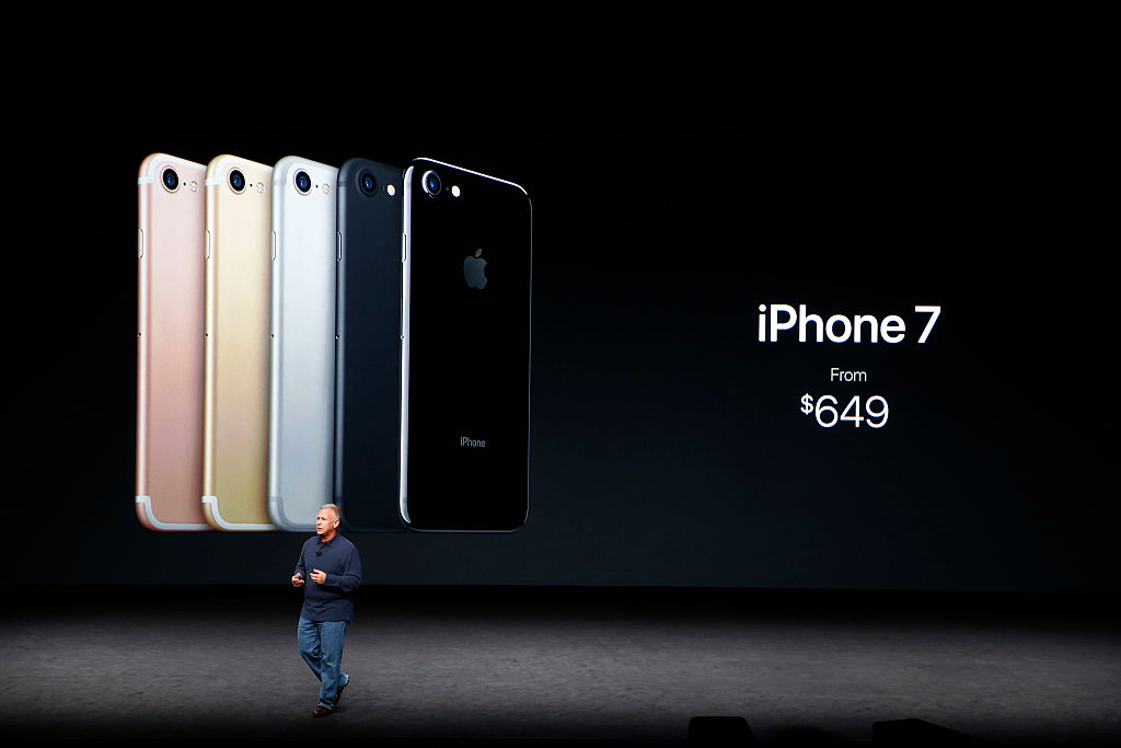 Phil Schiller speaks on stage during the launch event for the new iPhone 7