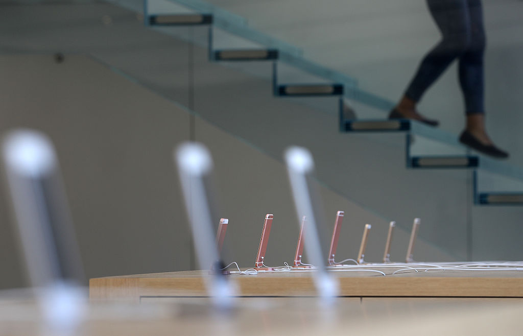 IPhones are displayed during a press preview of the new Apple Store flagship