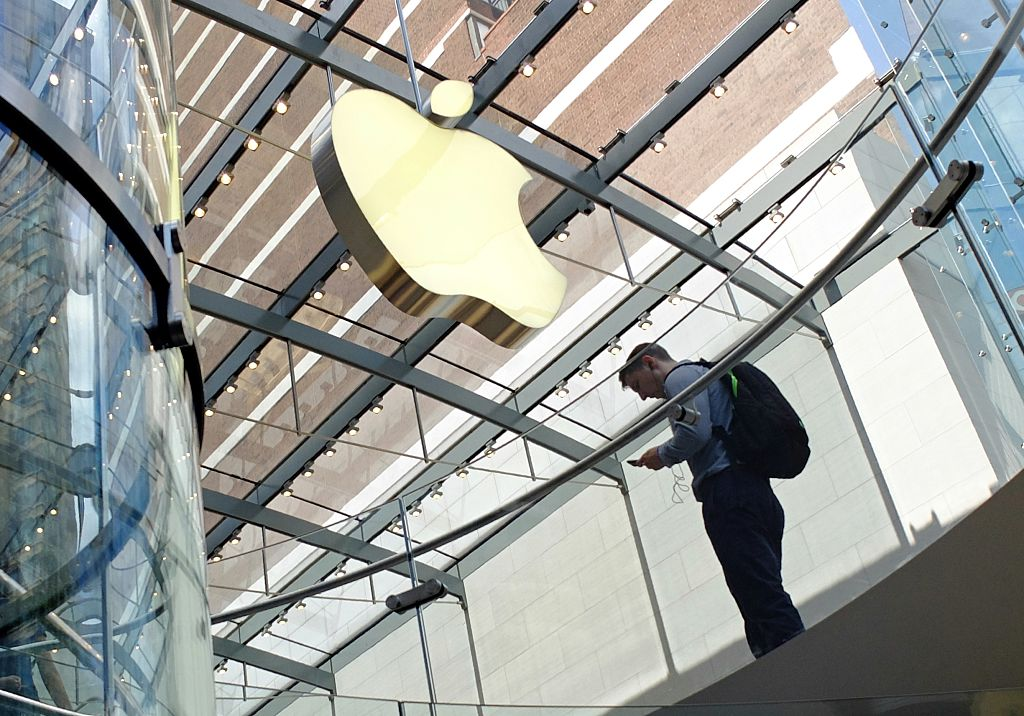 man visits the Apple Store