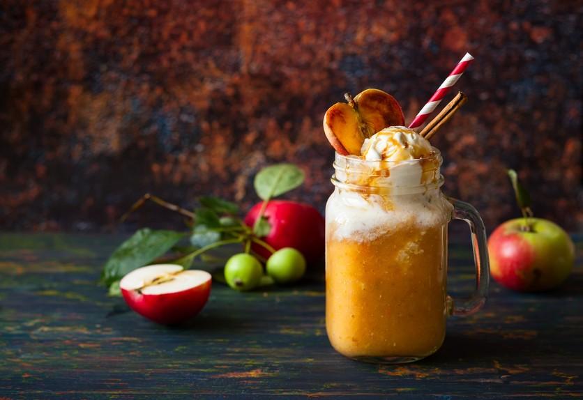 Apple cider float with caramel sauce