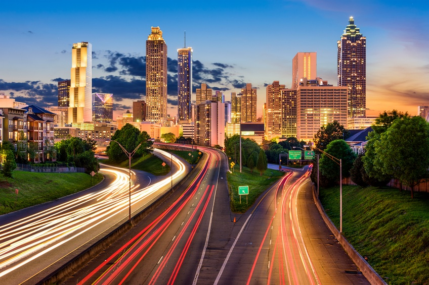 Atlanta skyline with highways