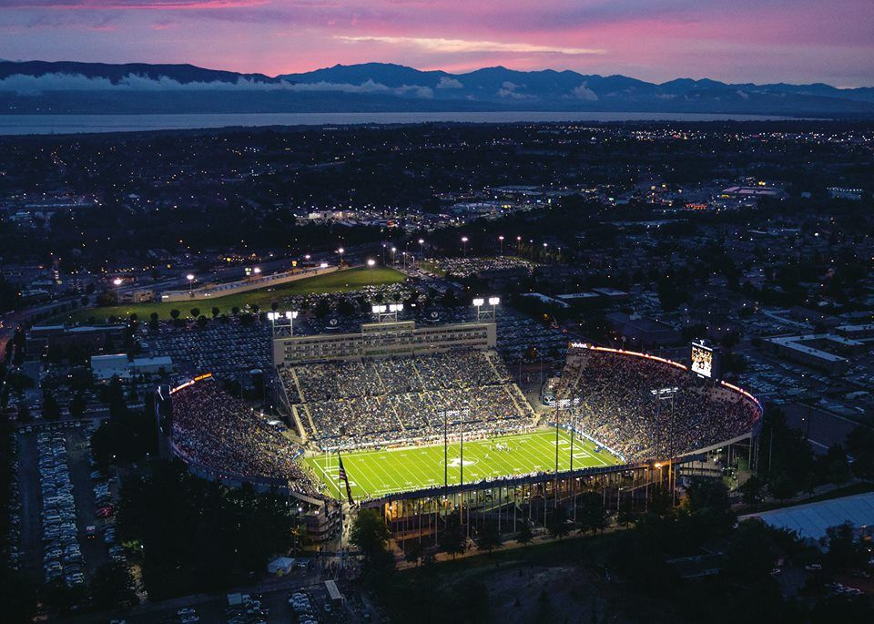 BYU's football stadium at night, and also home to America's top return on investment when it comes to universities