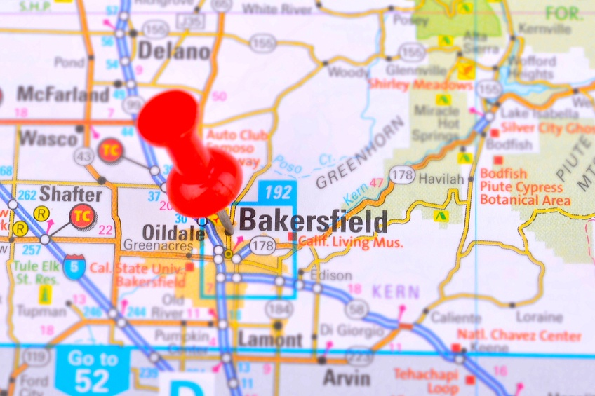 Bakersfield pinned on map