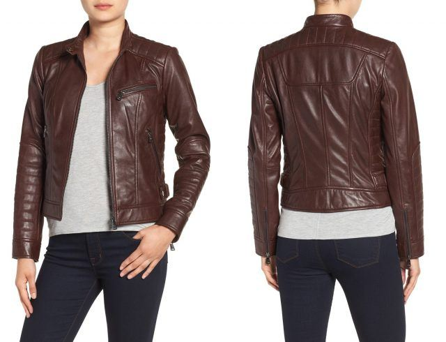 Bernardo quilted leather moto jacket