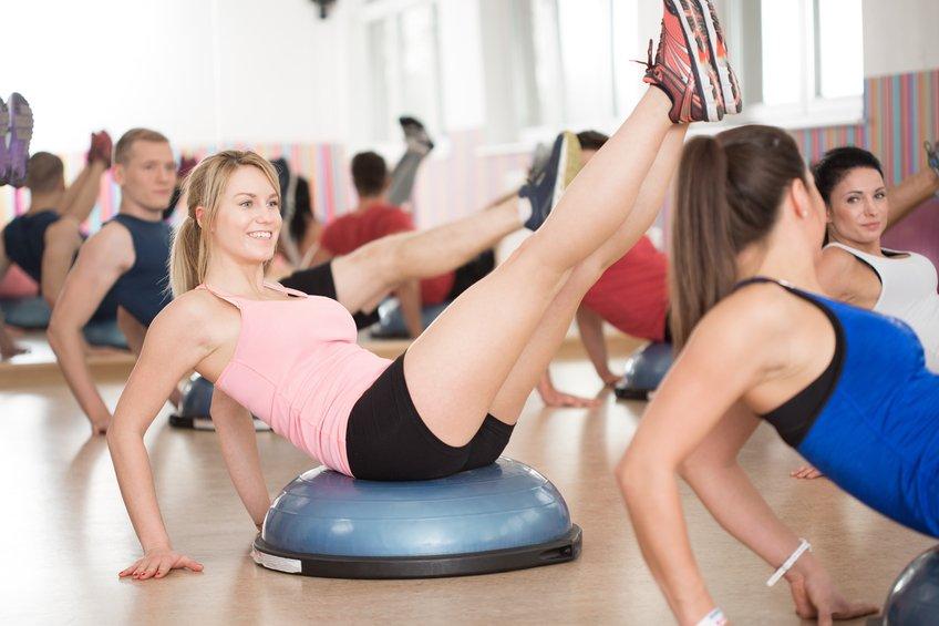 bosu training in fitness club