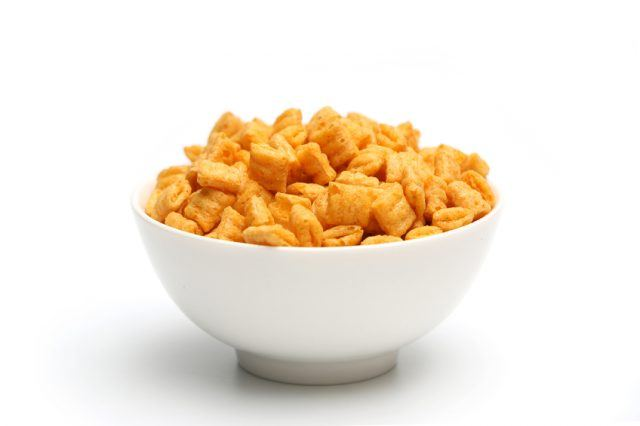 Breakfast cereal in a white bowl.