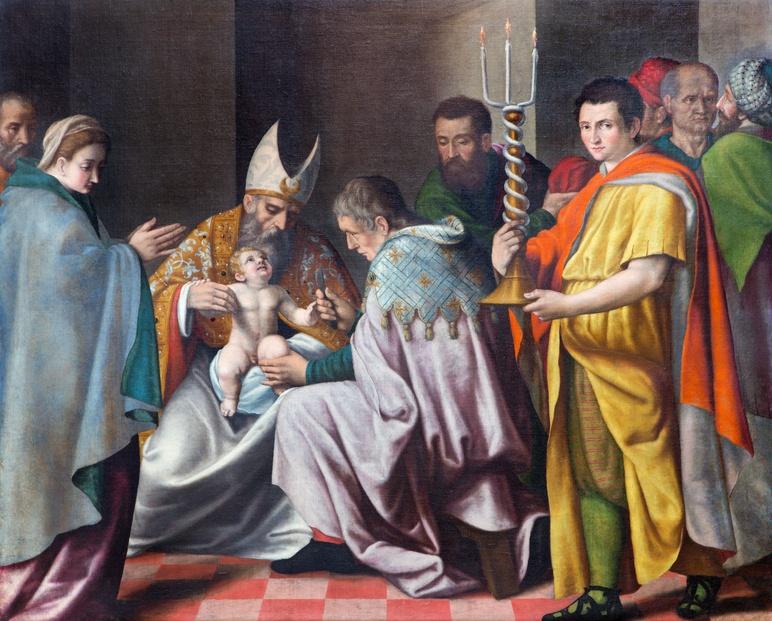 Brescia - The Circumcision of little Jesus paint in church Chiesa del Santissimo Corpo di Cristo
